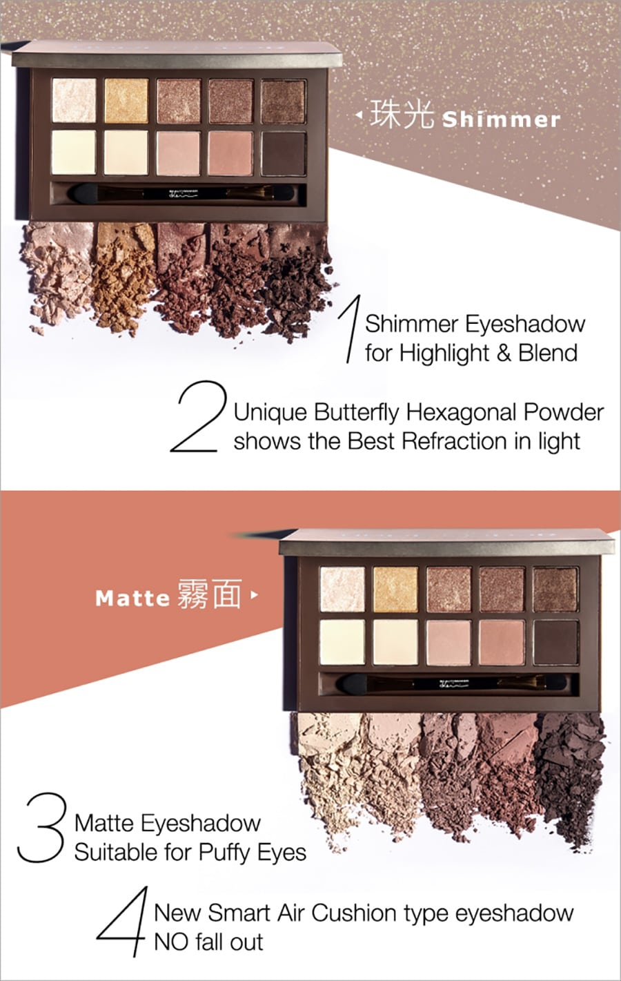 Duo Texture Eyeshadow Palette - Product Benefits