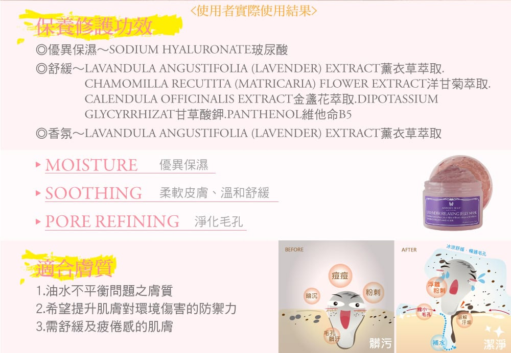 Lavender Relaxing Jelly Mask - Product Benefits 02