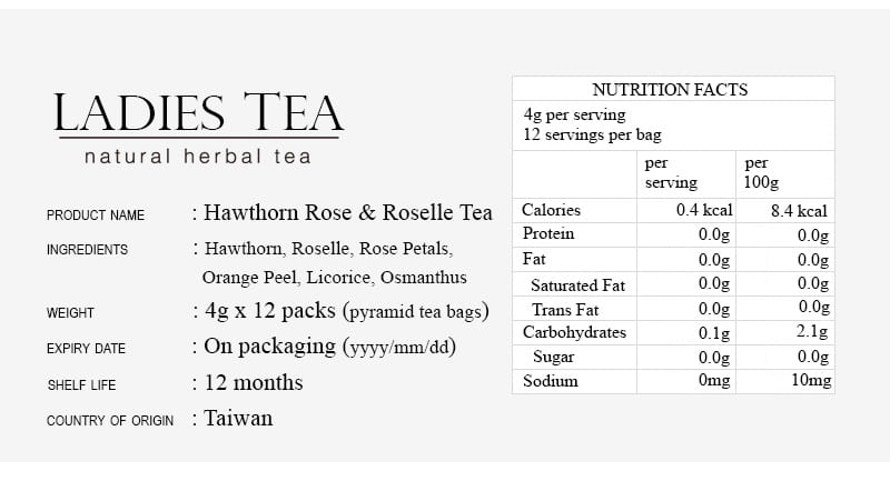 Hawthorn Rose Roselle Tea Packet - Info 9