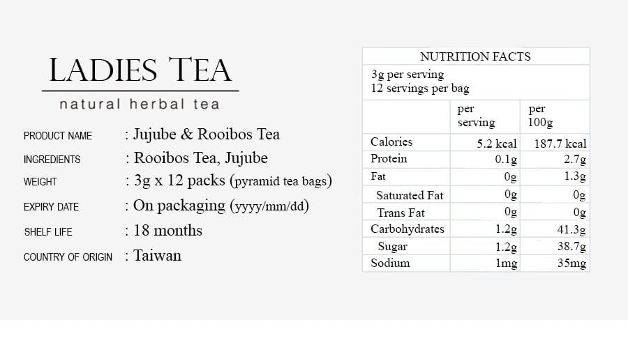 Jujube Rooibos Tea Packet - Info 9