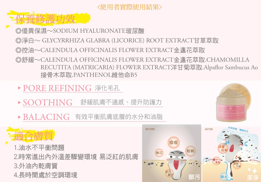 Calendula Softening Jelly Mask - Product Benefits 02