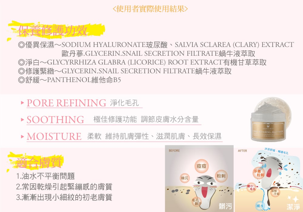 Snail Repairing Jelly Mask - Product Benefits 02