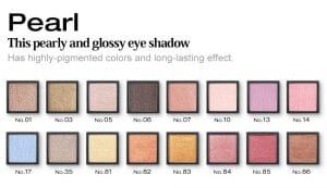 Glamorous Eyeshadow Pearl Series - Colors