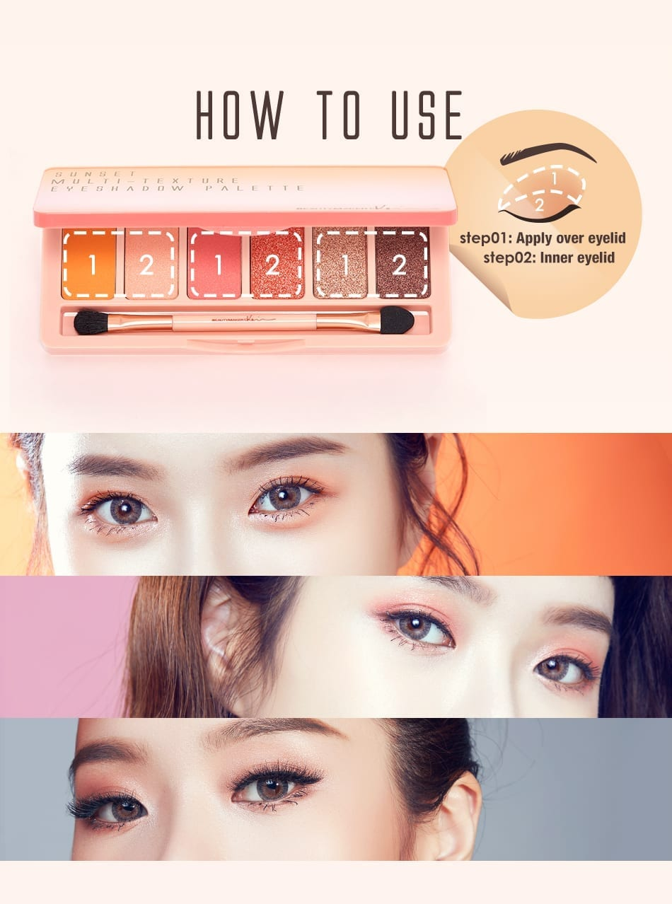 BeautyMaker Sunset Multi–Texture Eyeshadow Palette - how to use