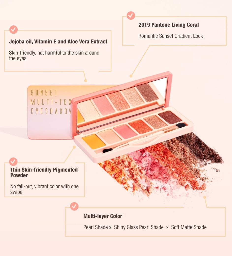 BeautyMaker Sunset Multi–Texture Eyeshadow Palette - features
