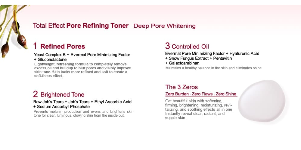 Pore Minimizing & Brightening Lotion - Features