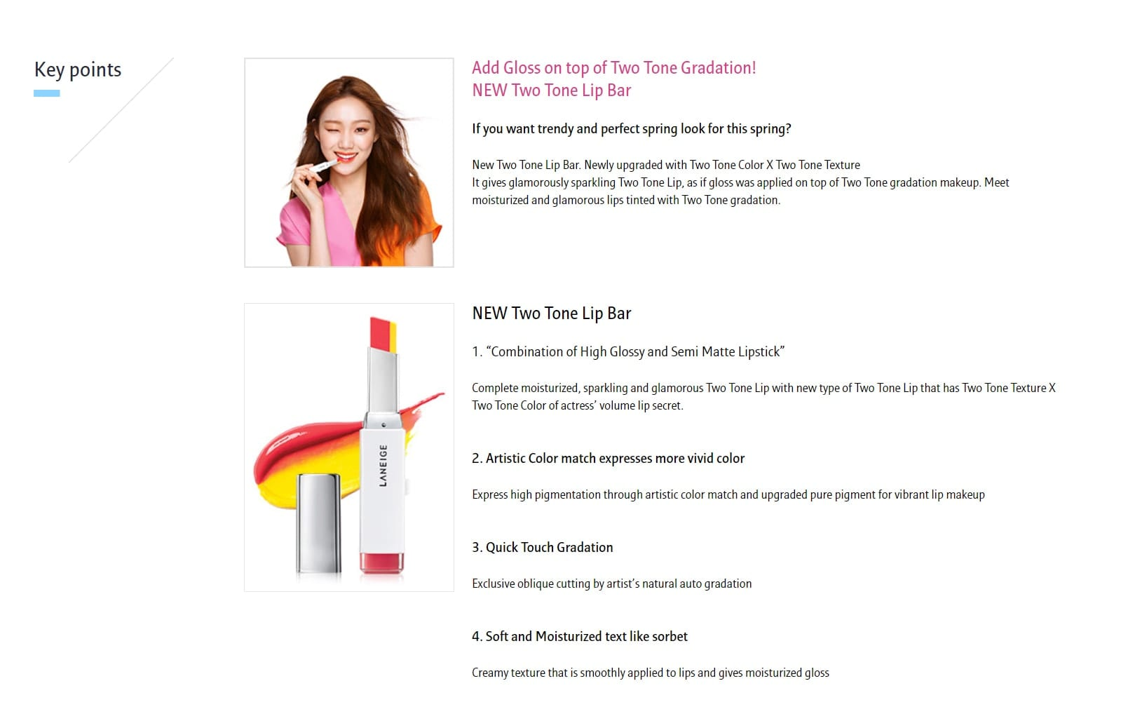 Laneige Two Tone Lip Bar - features