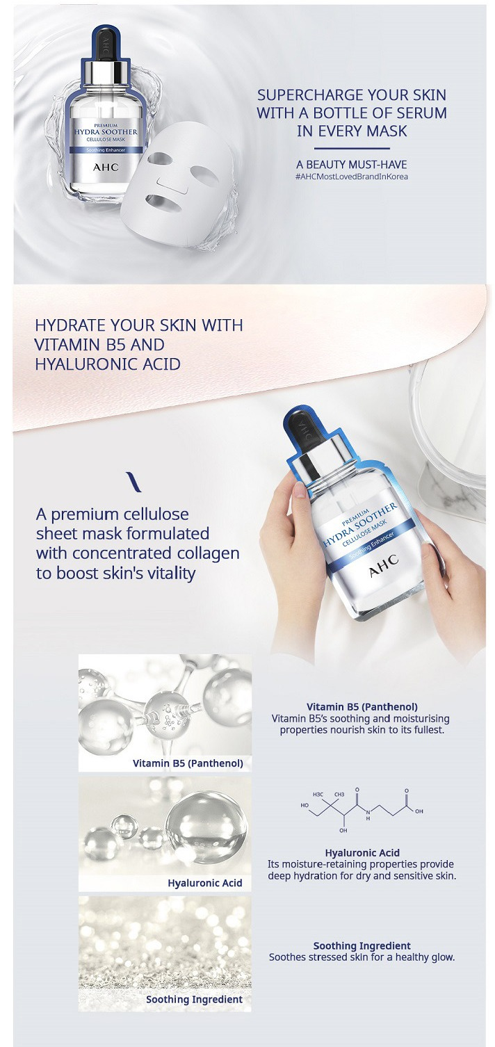 AHC Premium Hydra Soother Cellulose Mask - description