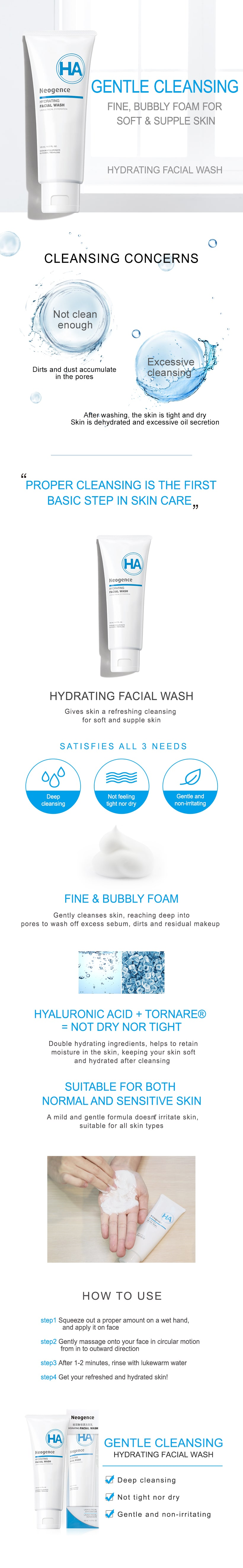 Neogence Hydrating Facial Wash - Features