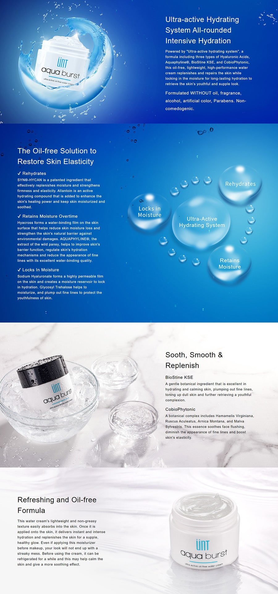 Ultra-active Oil-free Water Cream - Features
