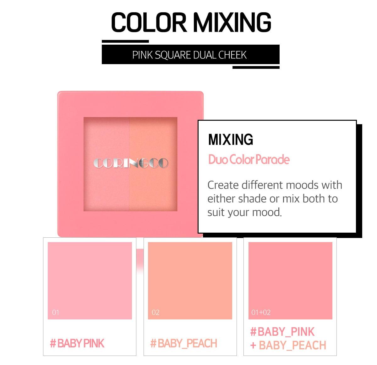 Pink Square Dual Cheek - Colors