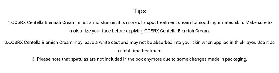 Centella Blemish Cream - Tips