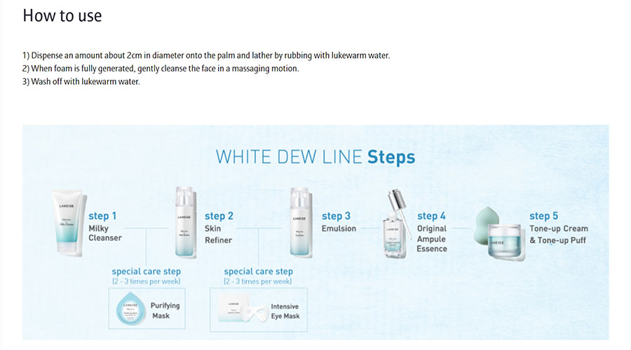 White Dew Milky Cleanser - How to use
