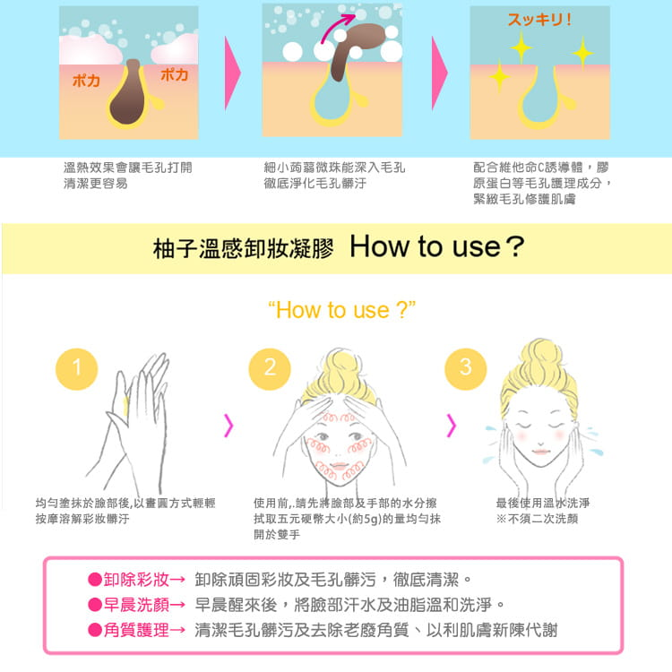 Yuzu Hot Cleansing Gel - How to use