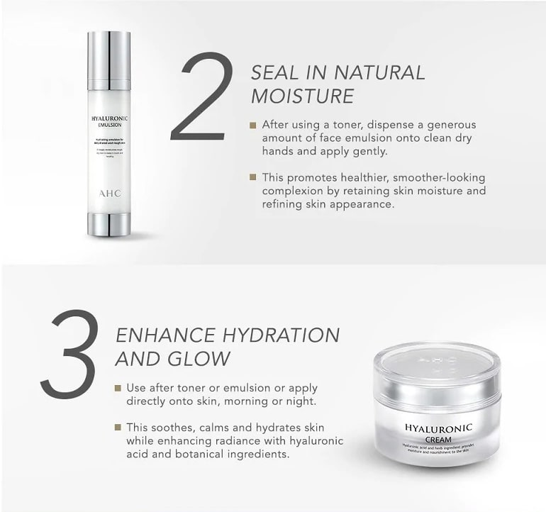 AHC Hyaluronic Cream - Steps