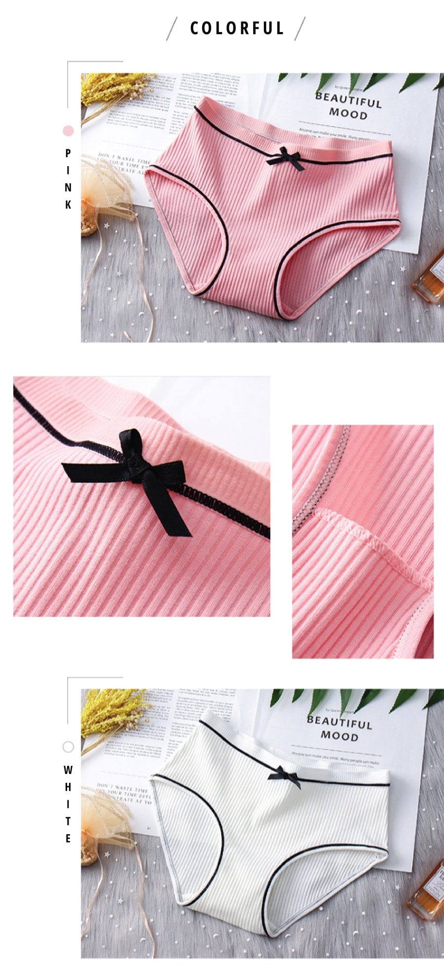 Bowknot Cotton Panties - Colors